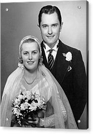 Portrait Of Bride & Groom Acrylic Print by George Marks