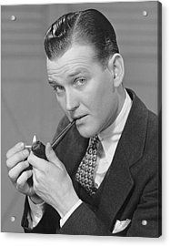 Portrait Of Businessman Lighting Pipe Acrylic Print by George Marks