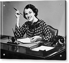 Portrait Of Businesswoman At Desk Acrylic Print by George Marks