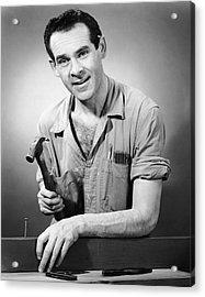 Portrait Of Carpenter Acrylic Print by George Marks