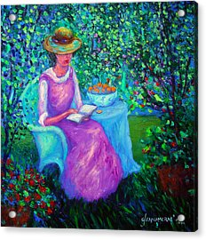 Portrait Of Ellsabeth In Her Garden Acrylic Print
