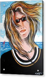 Acrylic Print featuring the painting Portrait Of Goca by Roberto Gagliardi