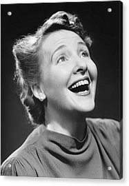 Portrait Of Happy Woman Acrylic Print by George Marks