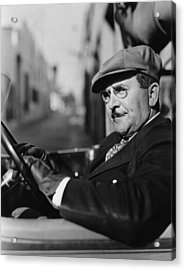 Portrait Of Man In Drivers Seat Of Car Acrylic Print by Everett