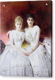 Portrait Of Marthe And Terese Galoppe Acrylic Print by Leon Joseph Bonnat