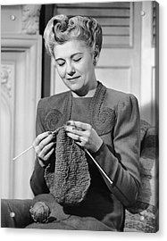 Portrait Of Mature Woman Crocheting Acrylic Print by George Marks