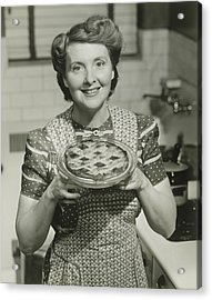 Portrait Of Mature Woman Holding Pie Acrylic Print by George Marks