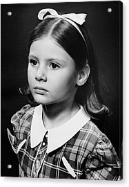 Portrait Of Sad Young Girl Acrylic Print by George Marks