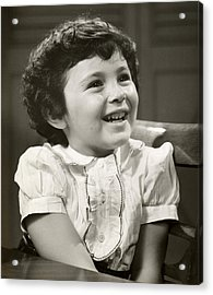Portrait Of Smiling Little Girl Acrylic Print by George Marks