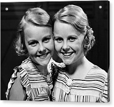 Portrait Of Twin Girls Indoor Acrylic Print by George Marks