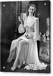 Portrait Of Woman At Vanity Table Acrylic Print by George Marks