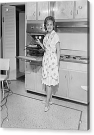 Portrait Of Woman Cooking In Kitchen Acrylic Print by George Marks