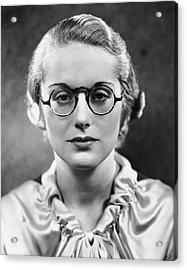 Portrait Of Woman Wearing Eyeglasses Acrylic Print by George Marks
