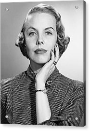 Portrait Of Woman With Wrist Watch & Ring Acrylic Print by George Marks