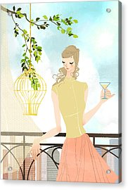 Portrait Of Young Woman Holding Wineglass Acrylic Print by Eastnine Inc.