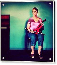 #portrait #pinup #studio #violin #music Acrylic Print