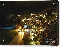 Positano Nightscape Acrylic Print by George Oze
