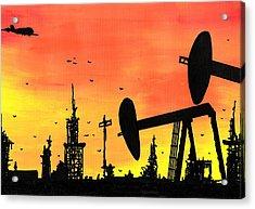 Post Apocalyptic Oil Skyline Acrylic Print by Jera Sky