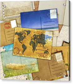 Postcard And Old Papers Acrylic Print by Setsiri Silapasuwanchai