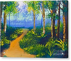 Poster Color Drawing Walk Way In Forest Acrylic Print by Mongkol Chakritthakool