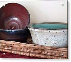 Acrylic Print featuring the photograph Pottery In A Basket by Kathy Sheeran