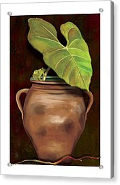 Acrylic Print featuring the painting Pottery Jar by Anne Beverley-Stamps