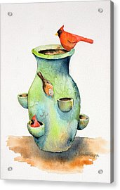 Pottery Vase And Birds Acrylic Print by Arline Wagner