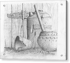 Potting Shed Acrylic Print by Jim Hubbard