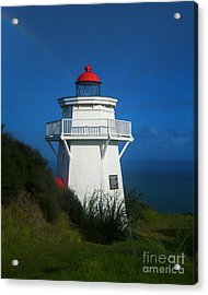 Acrylic Print featuring the photograph Pouto Lighthouse With Rainbow New Zealand by Mark Dodd
