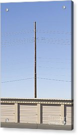 Power Line Pole Over Bay Doors Acrylic Print by Dave & Les Jacobs