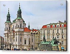 Prague - St Nicholas Church Old Town Square Acrylic Print by Christine Till