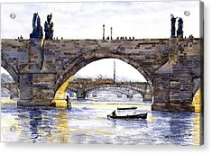 Prague Bridges Acrylic Print by Yuriy  Shevchuk