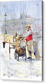 Prague Charles Bridge Organ Grinder-seller Happiness  Acrylic Print by Yuriy  Shevchuk