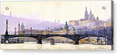 Prague Panorama Cechuv Bridge Variant Acrylic Print by Yuriy  Shevchuk