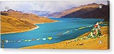 Prayer Flags By Yamdok Yumtso Lake, Tibet Acrylic Print by Feng Wei Photography