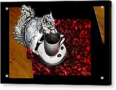 Prayer Over Coffee - Robbie The Squirrel Acrylic Print by James Ahn