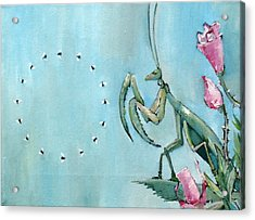 Praying Mantis And Flies In Circle Acrylic Print by Fabrizio Cassetta
