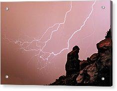 Praying Monk Camelback Mountain Lightning Monsoon Storm Image Acrylic Print by James BO  Insogna