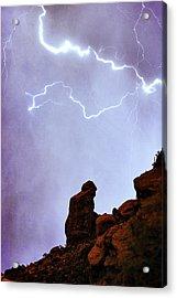 Praying Monk Camelback Mountain Paradise Valley Lightning  Storm Acrylic Print by James BO  Insogna