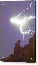 Praying Monk Lightning Halo Monsoon Thunderstorm Photography Acrylic Print