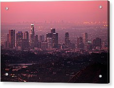 Predawn Light On Downtown Los Angeles. Acrylic Print by Eric A Norris