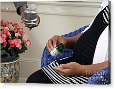 Pregnant Woman Taking Folic Acid Acrylic Print by Photo Researchers
