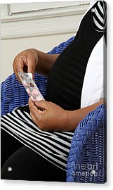 Pregnant Woman Taking Vitamins Acrylic Print by Photo Researchers