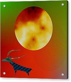 Prehistoric Stag Acrylic Print by Asok Mukhopadhyay