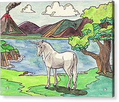 Prehistoric Unicorn Acrylic Print