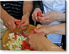Preparing Salad Acrylic Print by Sami Sarkis