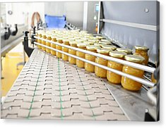 Preserve And Jam Bottling Production Line Acrylic Print by Photostock-israel