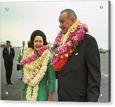 President And Lady Bird Johnson Wearing Acrylic Print by Everett