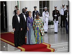President And Laura Bush Welcome Ghanas Acrylic Print by Everett