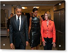 President And Michelle Obama And House Acrylic Print by Everett